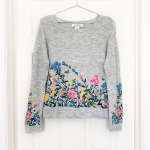 NWT H&M floral embroidery sweater gray stitch top